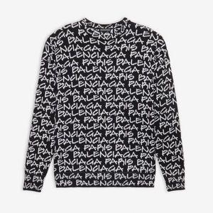 Balenciaga Paris Logo Black Men's Sweater